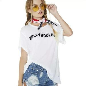 Wildfox Couture Hollywouldn't Distressed Tee Shirt